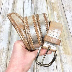 Nine West | Silver Metallic Leather Belt